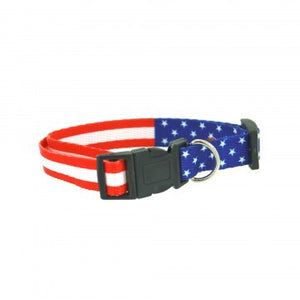 usa blue red white adjustable pet collar