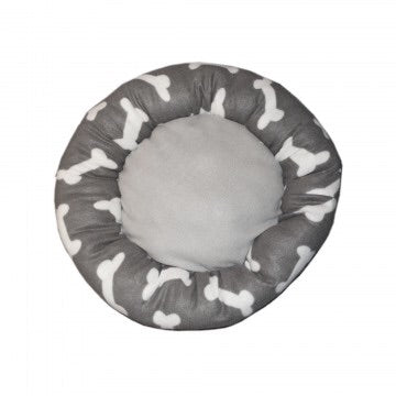 top view greay bone soft plush bed