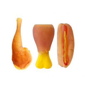 rubber toys showing chicken turkey and hotdog with bun