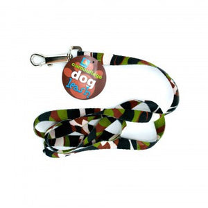 nylon camo dog leash with green black brown and white