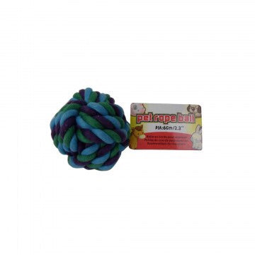 dog ball made from wooven blues rope