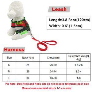 NEW Fashion Pet Vest Harness For Small Dog leash Nylon Cat Harness Set with Leashes For Dog Chihuahua Puppy Red Black Pet Supplies