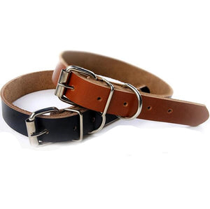 black and brown leather dog collar