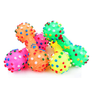 Colorful Squeaky Bone-Shaped Toy