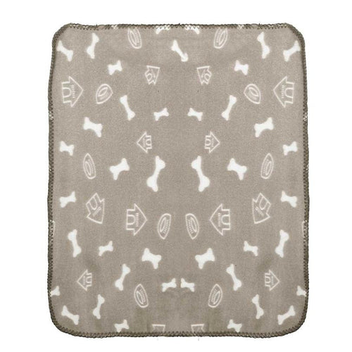 tan pet bed mat with bones and dog houses