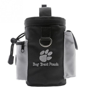 black and grey puppy treat pouch