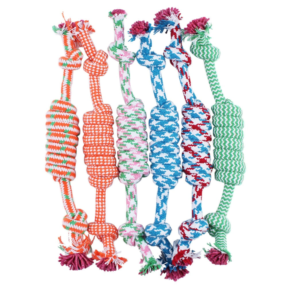 NEW 1PC Random Color New 27CM Dog Pet Puppy Chew Cotton Rope Ball Braided Knot Toy Durable Braided Bone Rope Funny Tool