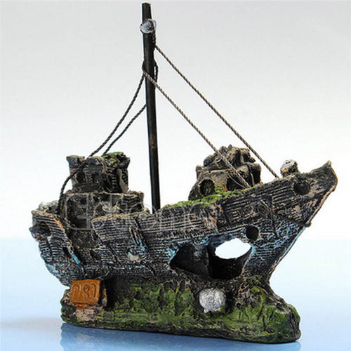 Wrecked Sunk Ship Aquarium Ornament