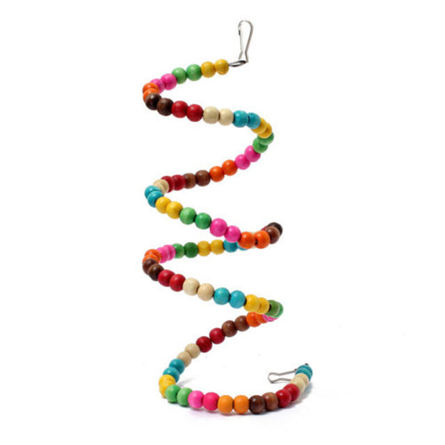 movable colored bead birch swing