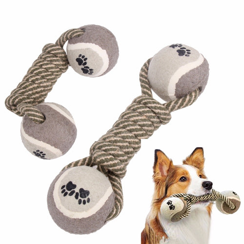 dog playing with sturdy dumbell pet toy