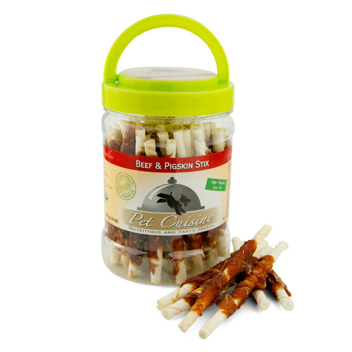 Pet Cuisine Beef Wrap Pigskin Dental Sticks 340g