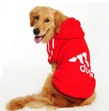Load image into Gallery viewer, red addidas dog hoodie for retrivers