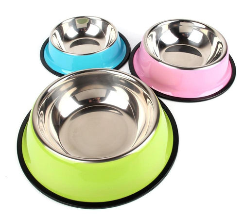 colorful stainless steel pet bowl