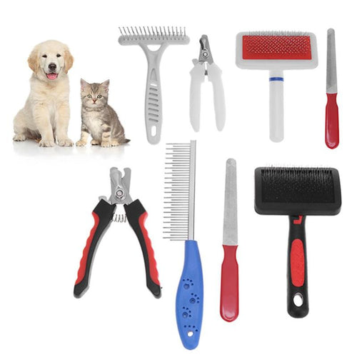 grooming set for cat and dog in red