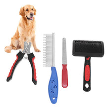 Load image into Gallery viewer, red and blue grooming set with golden retriever
