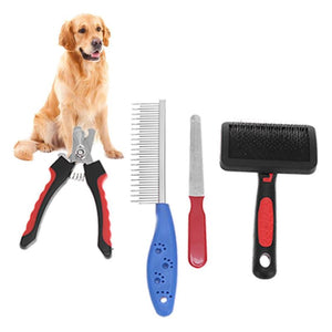 red and blue grooming set with golden retriever