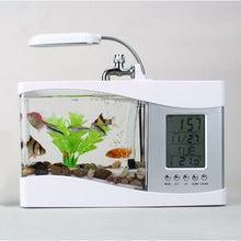 Load image into Gallery viewer, USB Desktop Aquarium with LED Clock