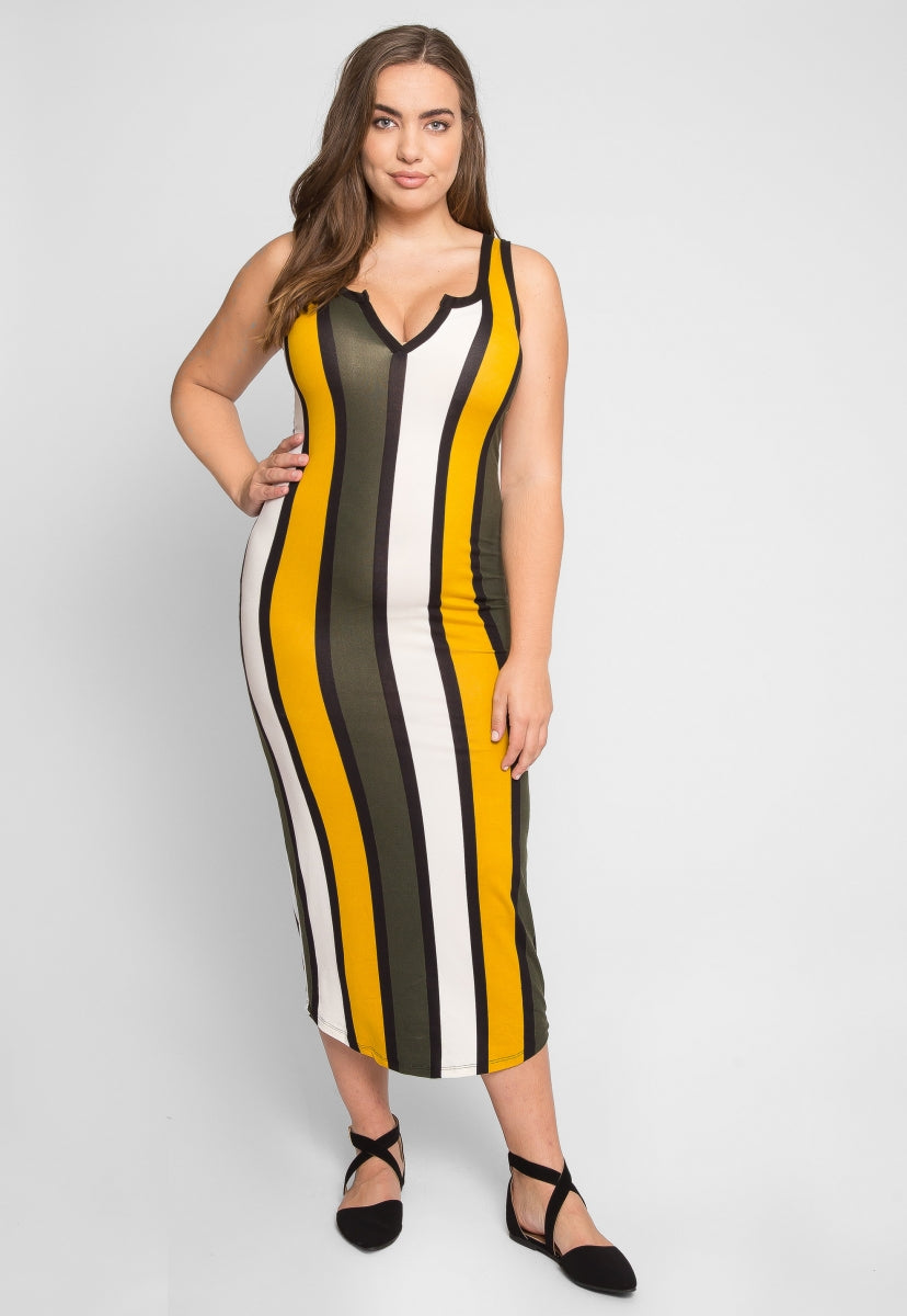 Plus Size Parade Stripe Dress in Mustard - Plus Dresses - Wetseal