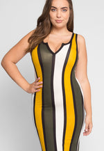 Plus Size Parade Stripe Dress in Mustard