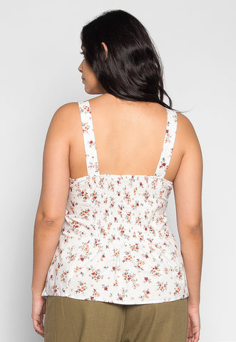 Plus Size Sunshine Floral Bustier in White