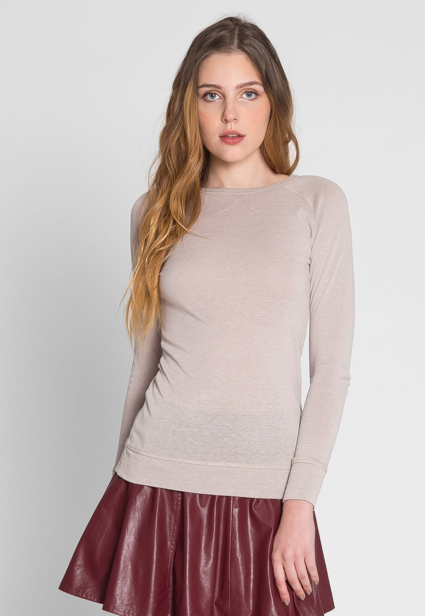 Bonfire Toptstich Sweater Top in Beige - Shirts & Blouses - Wetseal