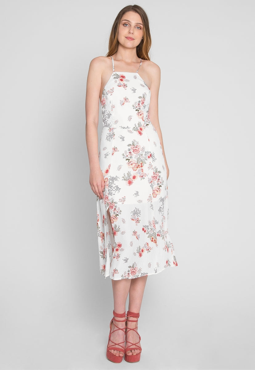 Cyrus Floral Halter Midi Dress in White - Dresses - Wetseal