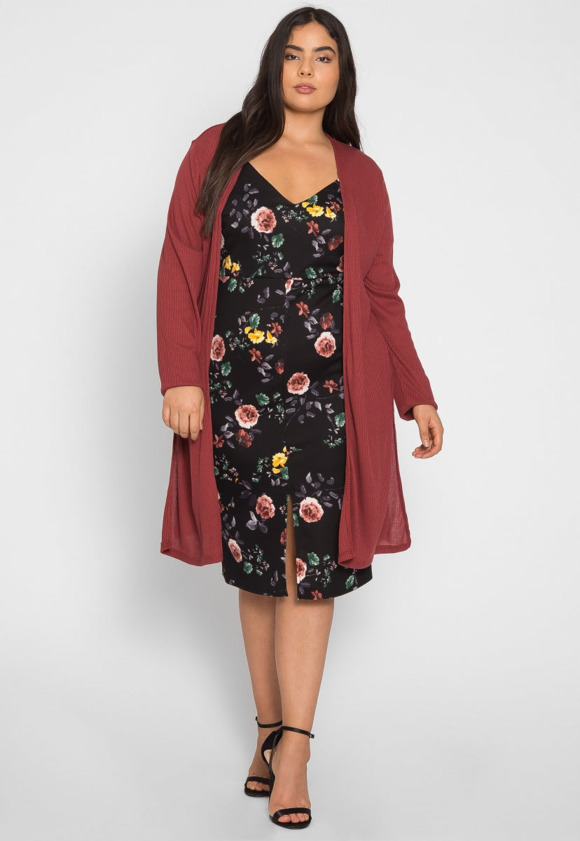 Plus Size Baby Knit Cardigan in Marsala - Plus Outerwear - Wetseal