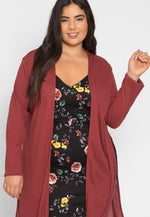 Plus Size Baby Knit Cardigan in Marsala