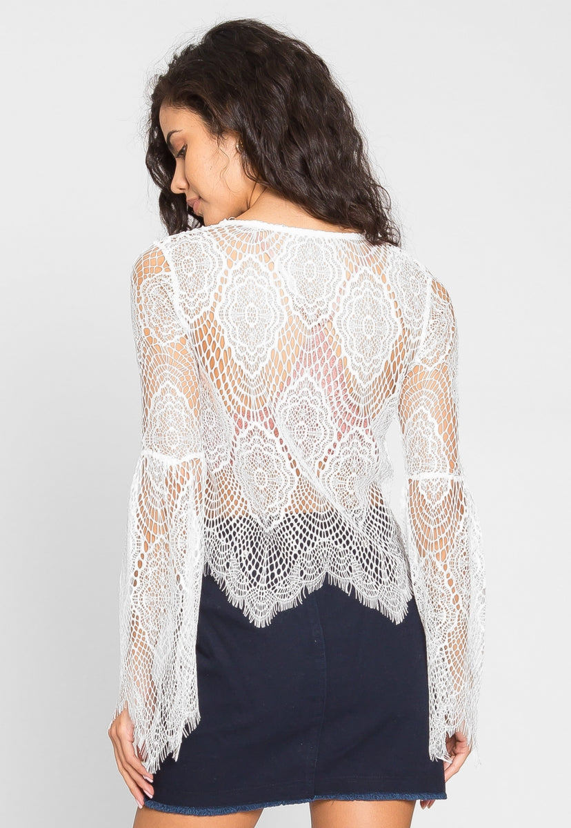 Beach Party Bell Sleeve Lace Top - Shirts & Blouses - Wetseal