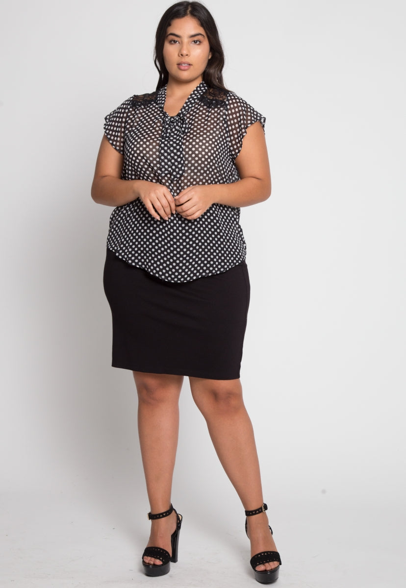 Plus Size Amber Polka Dot Blouse - Plus Tops - Wetseal