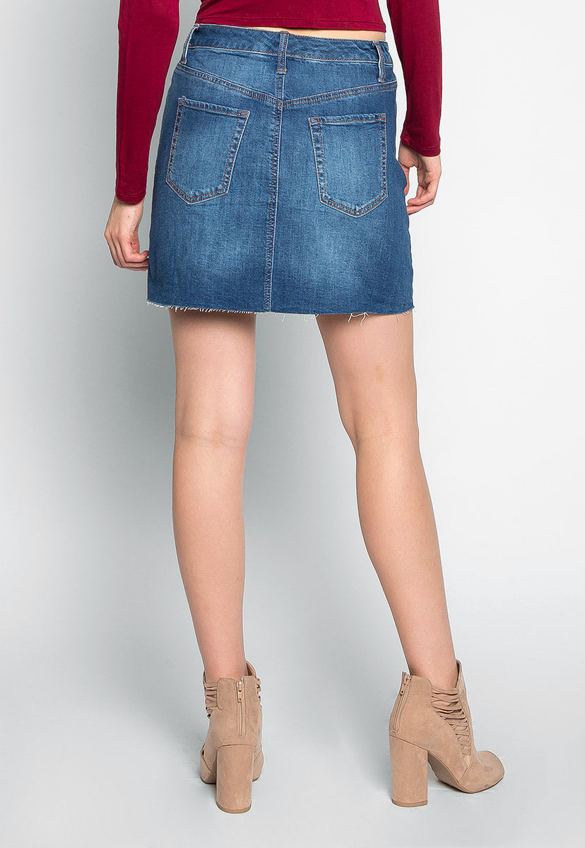 Uncontrol Me Studded Denim Mini Skirt - Skirts - Wetseal