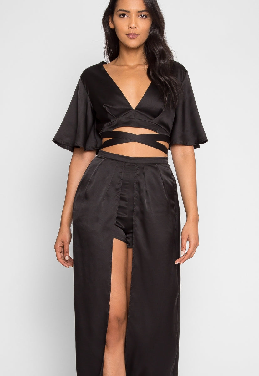 Satin Maxi Skort Two Piece Set - Set - Wetseal