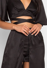 Satin Maxi Skort Two Piece Set