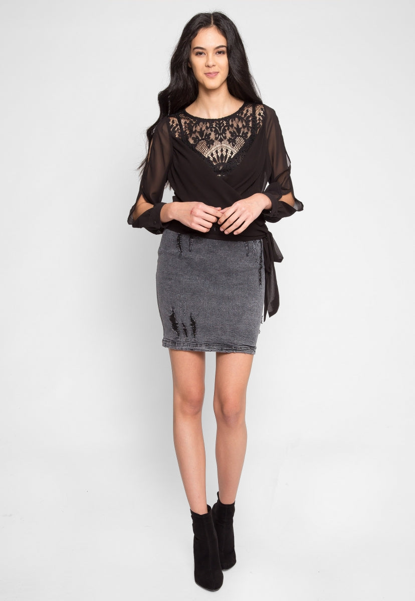 Geneva Lace Inset Wrap Top - Shirts & Blouses - Wetseal
