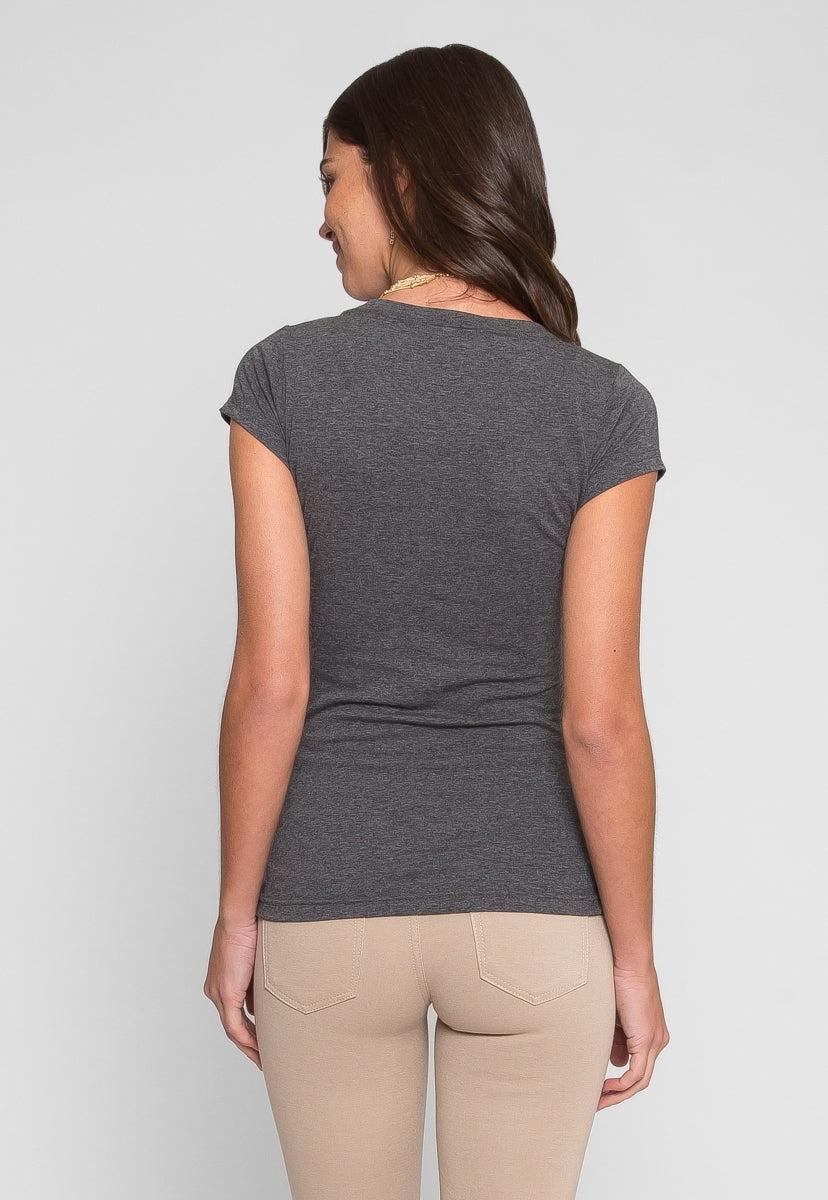 Sleepless Nights Basic Scoop Neck Tee in Charcoal - T-shirts - Wetseal