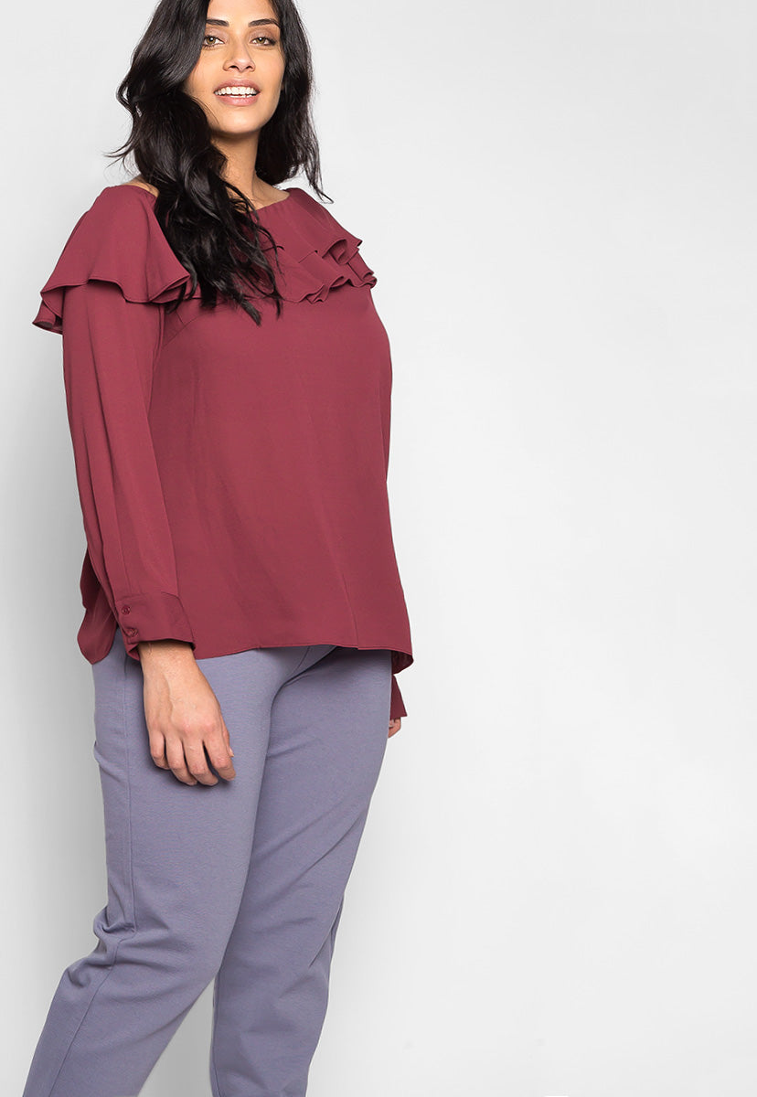 Plus Size Secret Love Ruffle Off Shoulder Blouse - Plus Tops - Wetseal