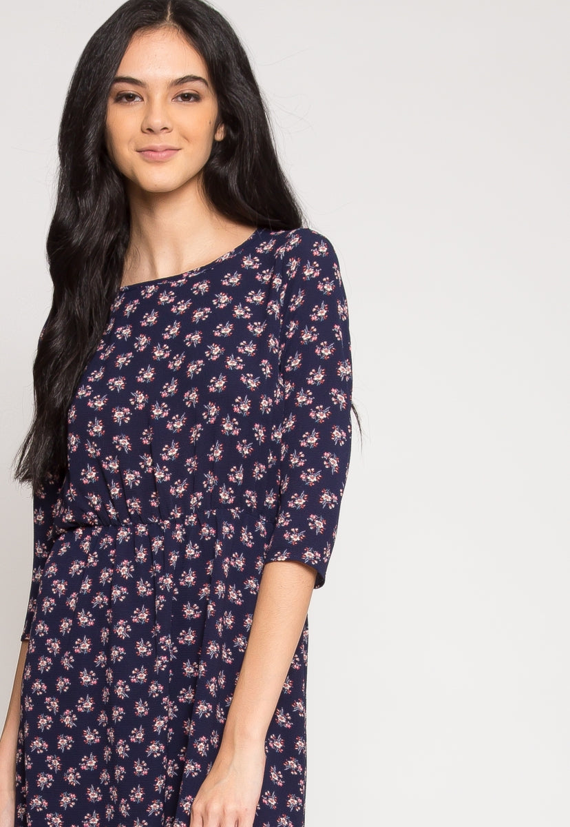 Clifford Floral Dress in Navy - Dresses - Wetseal