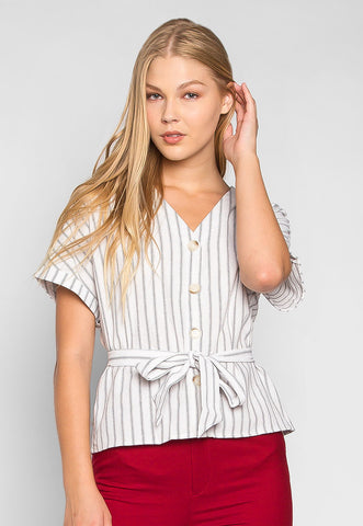 Sea Shell Belted Stripe Blouse