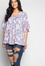 Plus Size Smile On Floral Blouse