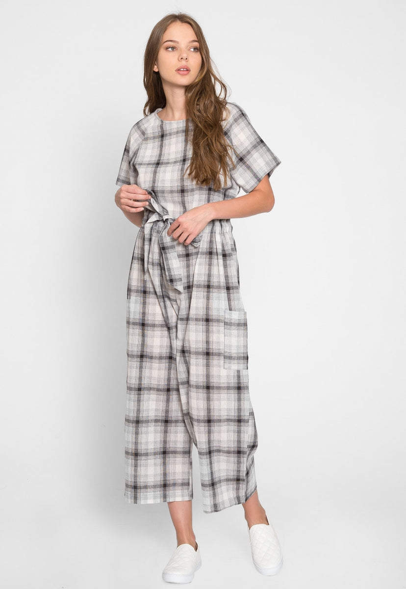 Bungalow Windowpane Plaid Jumpsuit - Rompers & Jumpsuits - Wetseal
