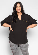 Plus Size You & I Zip Pocket Blouse