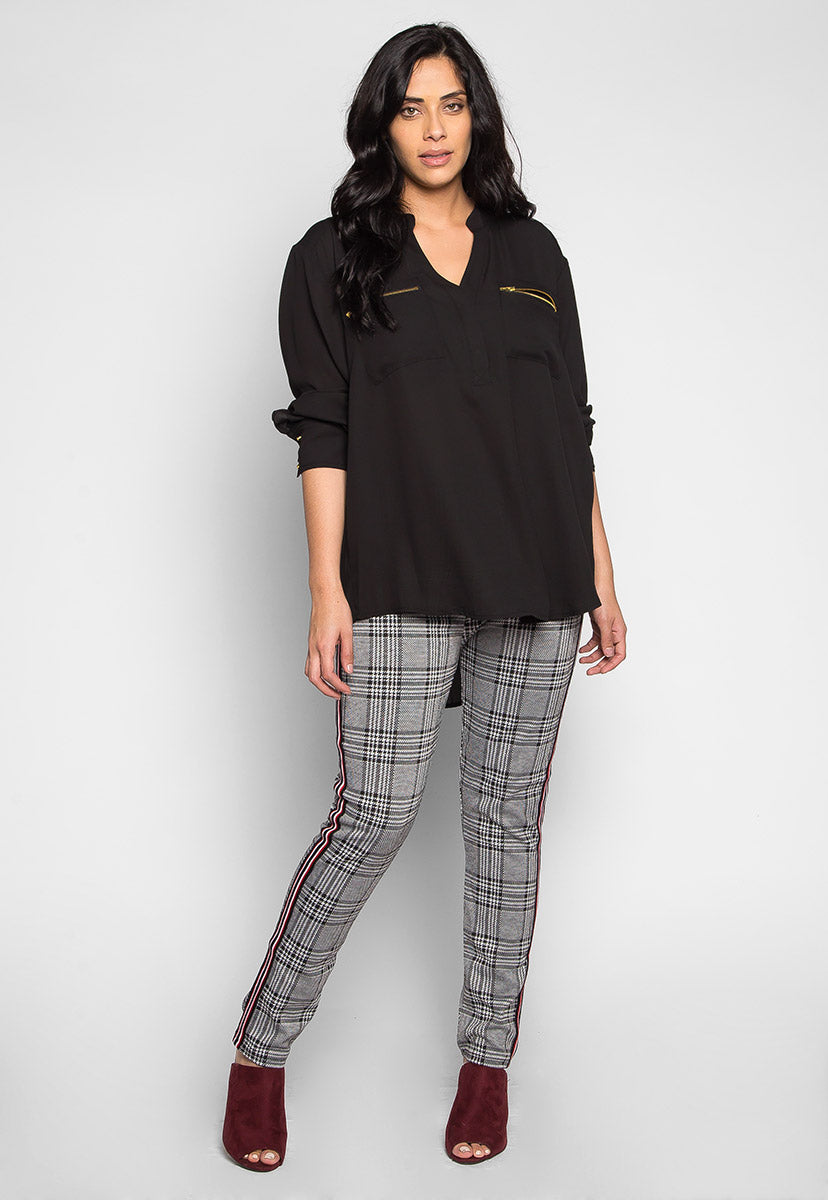 Plus Size You & I Zip Pocket Blouse - Plus Tops - Wetseal