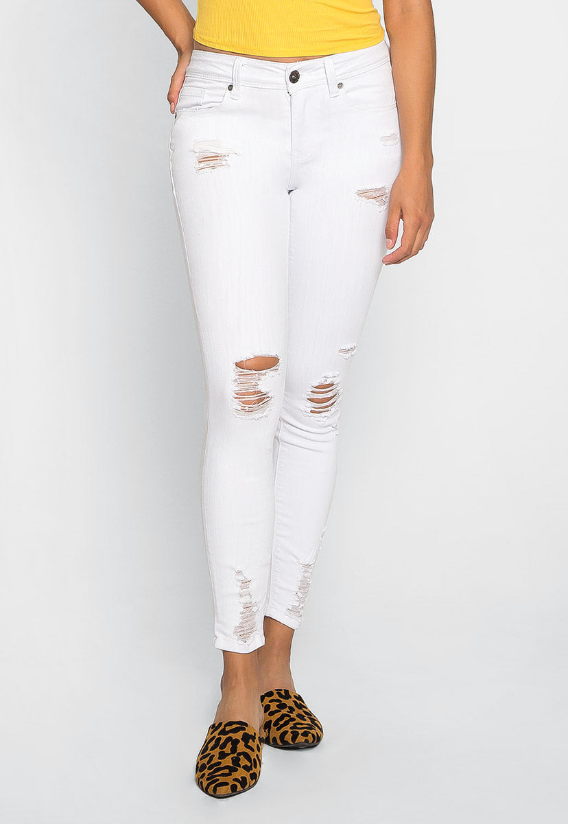 Easy Tricks Distressed Ankle Jeans - Jeans - Wetseal
