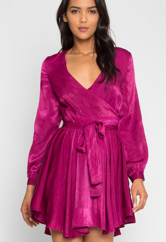 Satin Wrap Dress in Magenta
