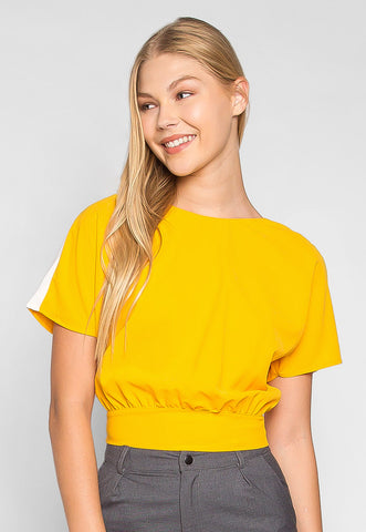 Supernova Tie Back Waist Blouse in Yellow