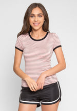 As If Retro Stripe Tee in Pink