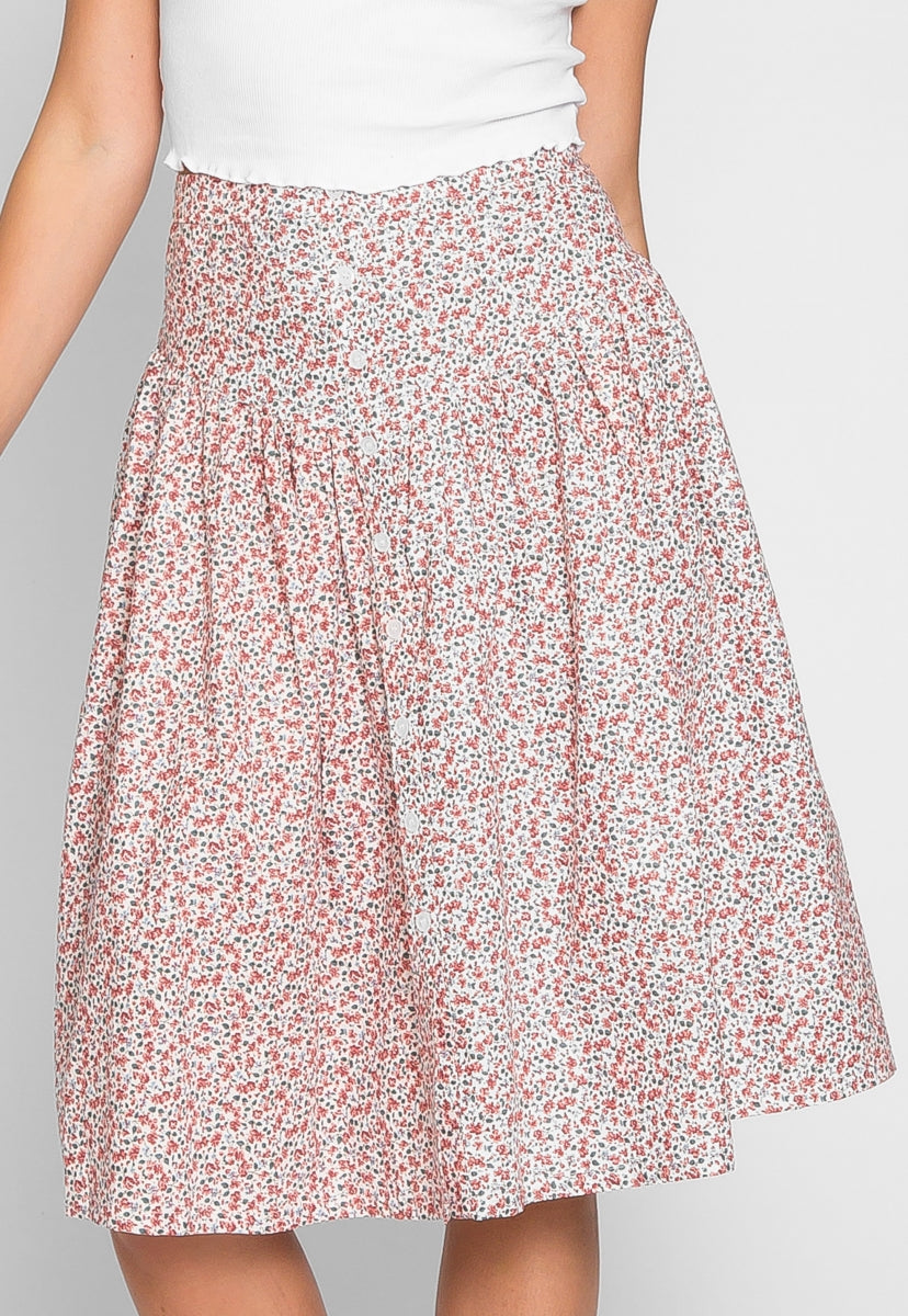 Loving It Ditsy Floral Midi Skirt - Skirts - Wetseal