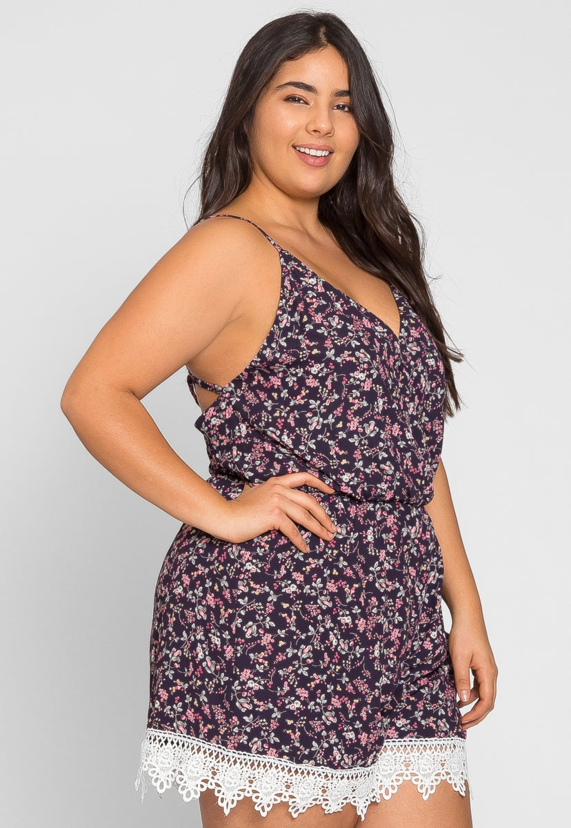 Plus Size Berlin Floral Romper in Navy - Plus Rompers & Jumpsuits - Wetseal