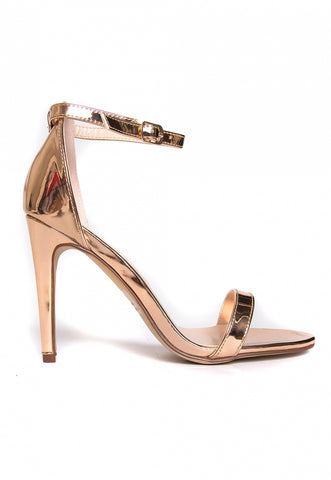 Strike Gold Metallic Ankle Strap Heels