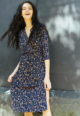Cedar Floral Midi Dress in Rust